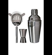 Barset 3 delar shaker 0,5l drinkmått 1-4 cl drinksil rostfritt