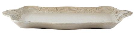 KJ Collection Bakke - m. mønster - Træ - Grå - Antik - H 4,5cm - L 44,5cm - B 29,5cm - Stk. thumbnail