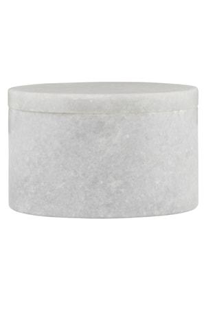 Förvaringsburk Marble Ø 10x6 cm - Vit