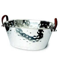 Champagne Bath small- Silverpläterad ishink med läderhandtag