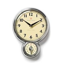 Klocka med timer, 18 cm Aluminium