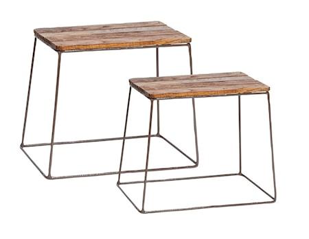 Hübsch Square wood pallar - Set om 2