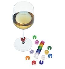 Färgkod till vinglas 10st med hållare