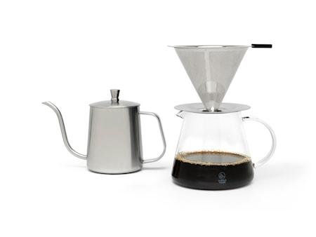 Slow-kaffebryggare set 3 delar stål/klar återanvändbar kaffefilter 30 cl Bredemeijer