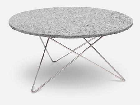 Outdoor O Table Granit med Rostfritt Stålben Ø80