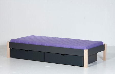 Manis-h Ull säng mörkgrå/bok - 90x200