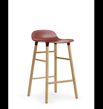 Form Barstol Röd/Ek 65 cm