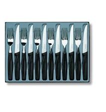 Bordsset 12 delar, svart 6 spetsiga knivar + 6 gafflar