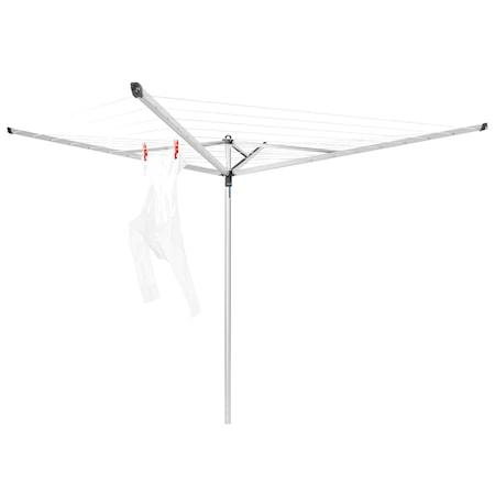 Brabantia Torkvinda Essential 40m 4 armar markrör i plast 35mm + skyddsöverdrag 40 M Metallic Grå