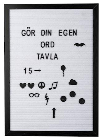 Bilde av Bokstavtavle svart ramme hvit filt 42 x 30,1 x 1,8 cm
