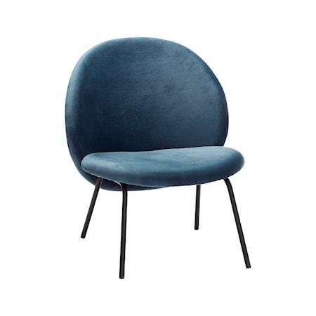 Hübsch Loungestol sammet 67x55xh76 cm - Svart/Blå