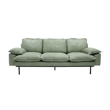 Retro Soffa Läder 3-sits Mint Grön