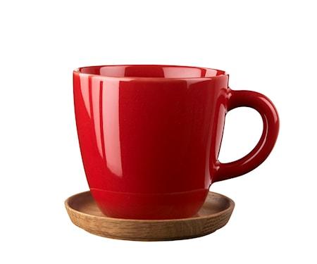 Höganäs Kaffemugg 33 cl äppelröd blank med träfat
