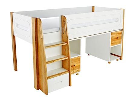 Curve Loftsäng med skrivbord två skåp - Ek