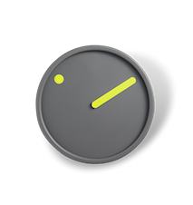Picto Väggur, gul på mörk grå, Ø 16 cm