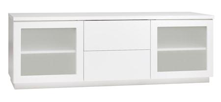 Hiipakka Sonaatti tv-bänk - 150 cm - frostat glas - vit/vit