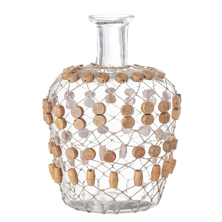 Lou Vas Glas Klar med Pärlor i Trä