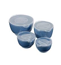 Margretheskål Blå 4 skålar med lock