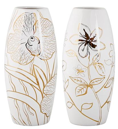 Bilde av KJ Collection Vase Keramikk Hvit/Gull 30 cm
