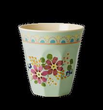 Melaminmugg Tvåtonad Mint Flower Print