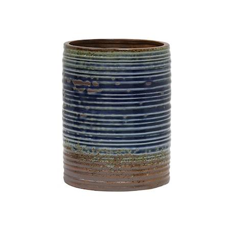 Bilde av Blomsterpotte Keramikk Blå og Brun 20 cm