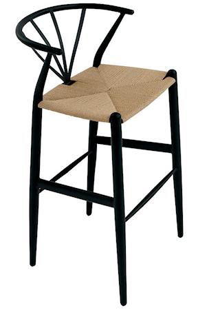 Dan Form Denmark Delta barstol ? Svart bas, naturfärgat säte