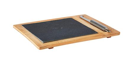 Galzone Skærebræt - m. kniv - Skifer - Bambus - Sort - Natur - H 1,5cm - L 30,0cm - B 25,5cm - Gaveæske - Stk. thumbnail