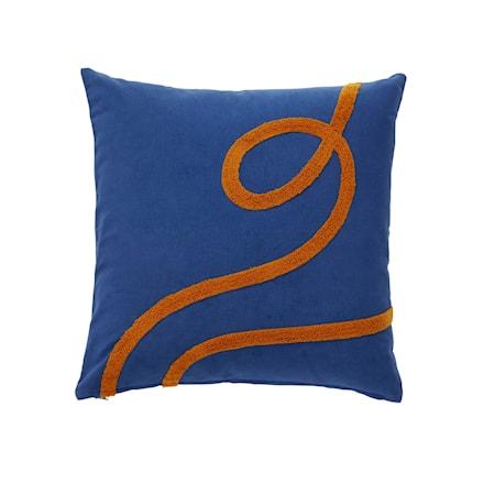 Kudde Bomull blå/orange