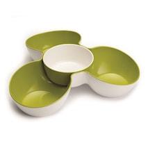 Snacksskål Triple Dish 2 delar Vit/Grön