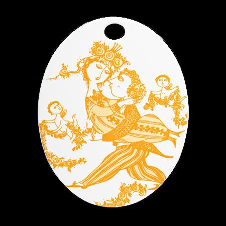 Björn Wiinblad Oval platta Victoire orange 15×19 cm