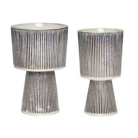 Kruka Keramik Beige/Svart 2 st