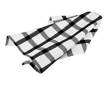 Handduk rutig vit/svart