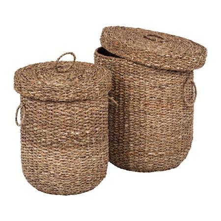 Tvättkorgar med lock Sjögräs 2 st