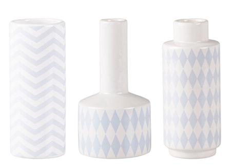 Bilde av KJ Collection Vase med mønster Lyseblå 15 cm