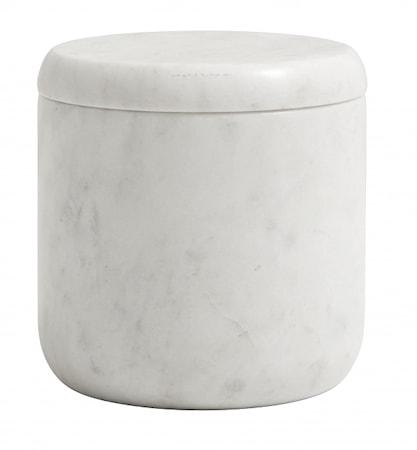 Jar w/lid, white marble