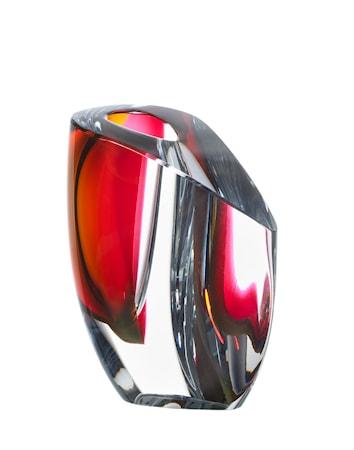 Bilde av Kosta Boda Mirage Grå/Rød Vase 15,5 cm