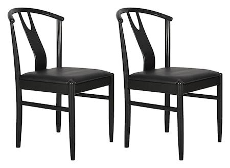 RGE Hugo 2-pack stol - Svart/läder