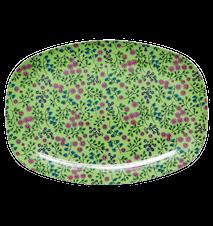 Tallrik Melamin Grön småblommig 30x22