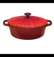 Emaljerad gjutjärnsgryta 4,3 liter Oval 29 cm Röd