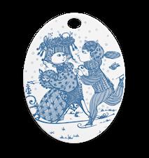 Oval platta, Contact, støvet blå, 15x19 cm