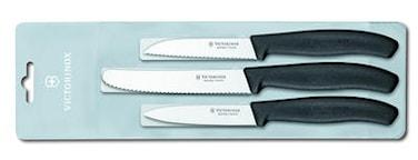 Grönsaks- & skalknivsats svart handtag, 3 delar, plastficka