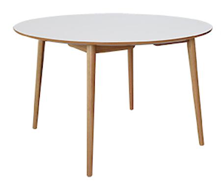 RGE Perstorp rund 118 matbord - Vit med ekben