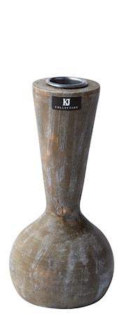 Bilde av KJ Collection Lysestake Tre Grå 15,5 cm