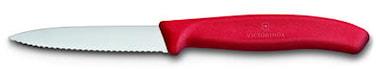 Grönsak- & skalkniv 8 cm rött handtag, vågig & spetsig