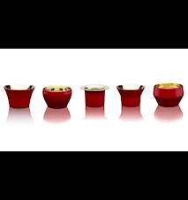 Kin, set om fem, design CKR, röd H 4,5 Ø 4 cm