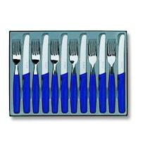 Bordsset 12 delar, blå handtag