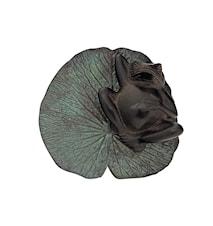 Groda, liggande på näckrosblad, 21 cm, brun