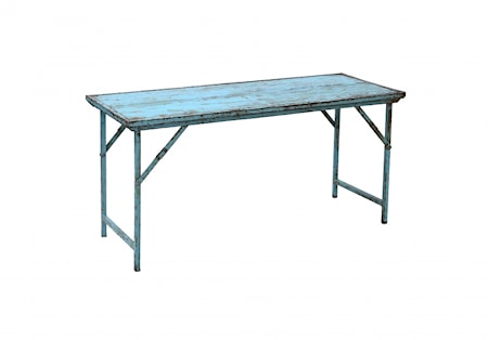 RECYCLED wooden table, l.blue, foldable