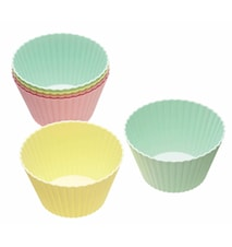 Muffinsform 6-pack Silikon Mixade färger 9 cm