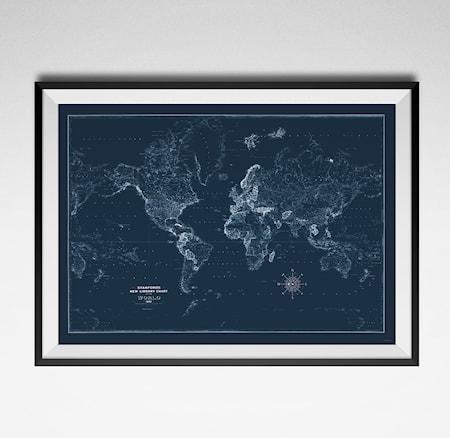 Bilde av Konstgaraget Old world map blue poster